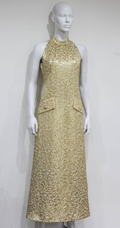Jean patou aline lurex brocade gold evening dress c gold
