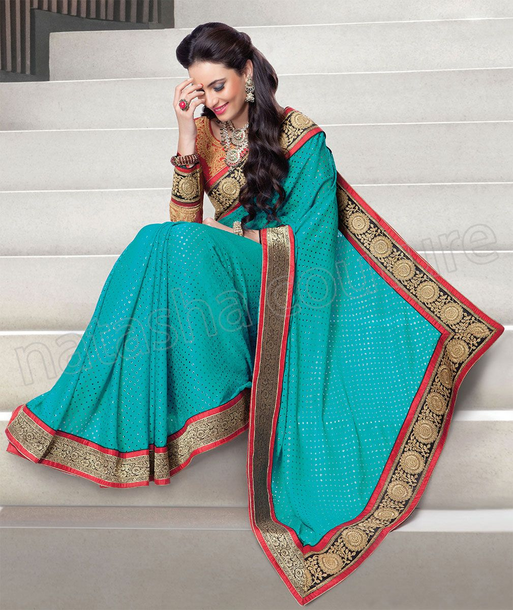 Designer Saree #Blue #Indian Wear #Desi Fashion #Natasha Couture ...