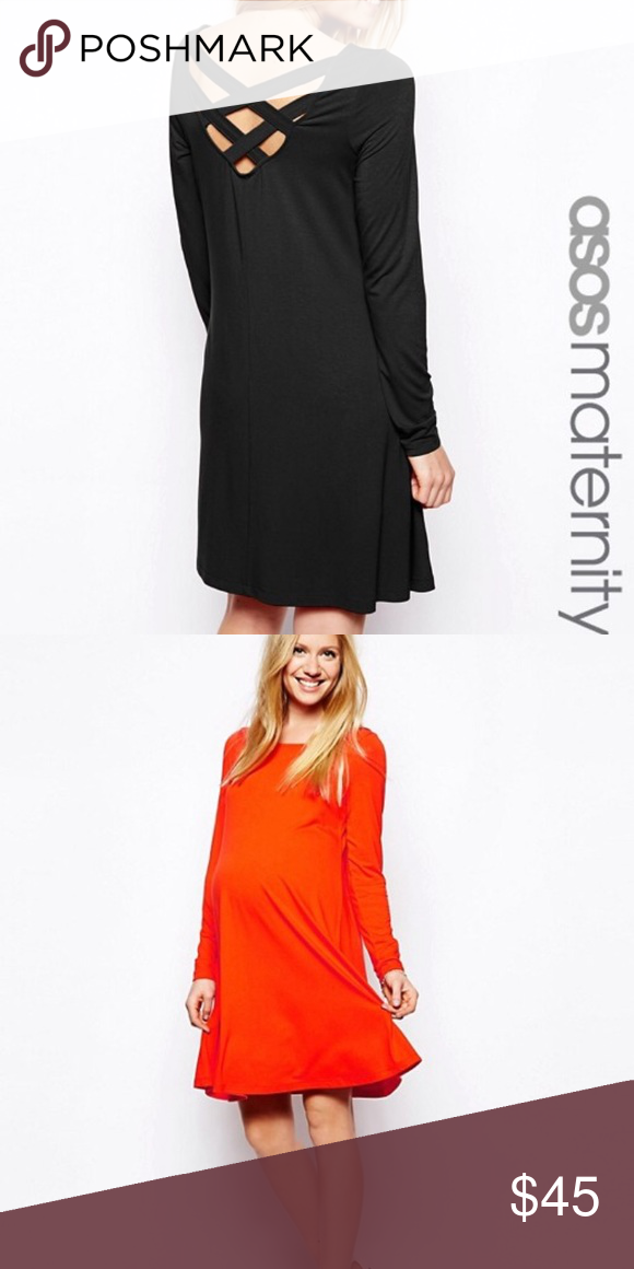 66b938c7b95 NWT ASOS maternity cross cross back swing dress New with tags. Purchased  but never ended up wearing it. Orange dress is just to show fit.