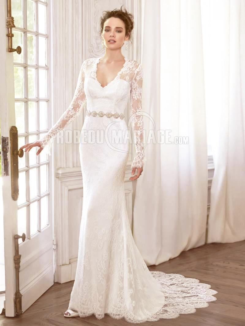 Col en v manches longue robe de mariée princesse broderie dentelle [# ...