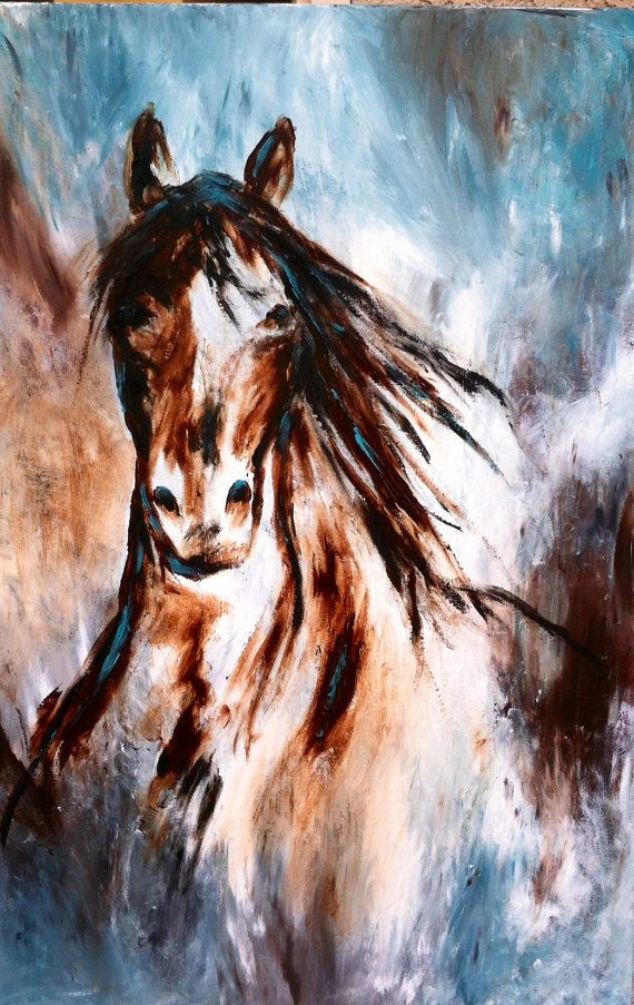 Contemporary Horse painting in turquoise by ...