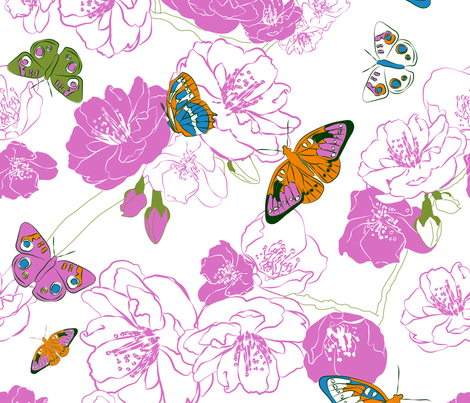 Butterflies love pink! fabric by Newmom on Spoonflower.