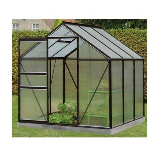 Serre de jardin en polycarbonate Daisy - 3,8m², Couleur Noir, Base Sans base, Filet ombrage oui, D