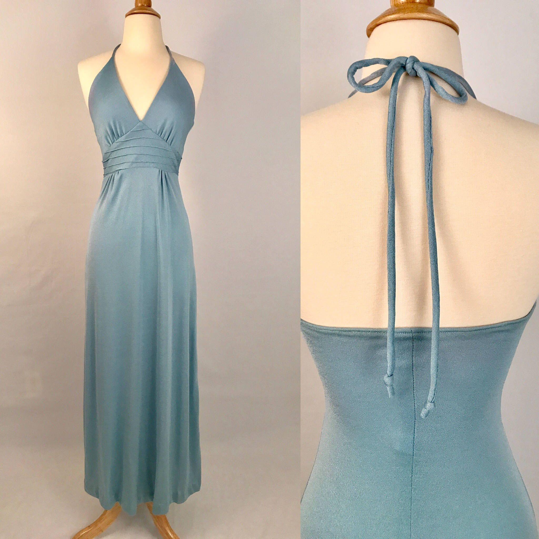 s Maxi Party Prom Dress Vintage Light Blue Boho Sundress XS