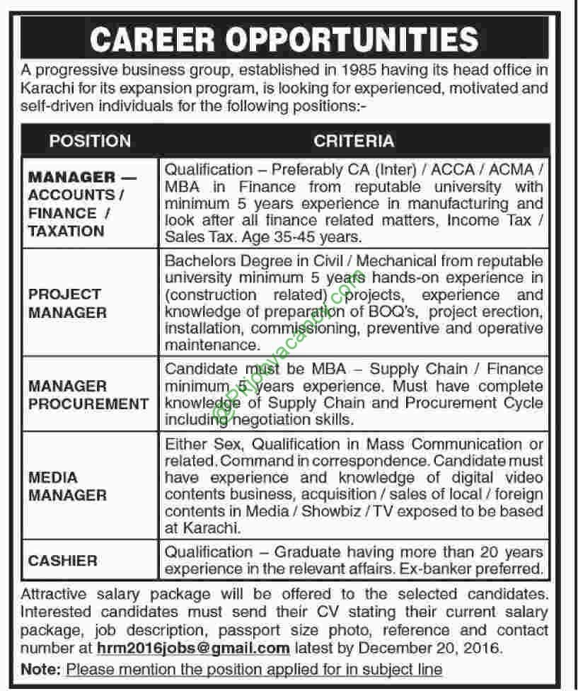 Progressive Business Group Karachi Jobs For Manager Finance