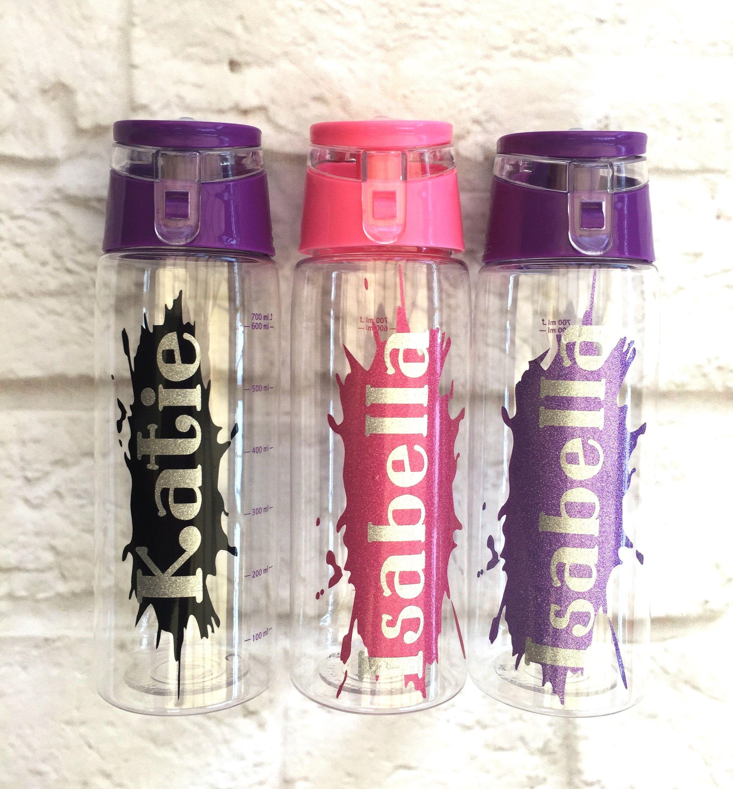 Personalised Purple Dinosaur Metal Water Bottle Custom Named Sport Gift School