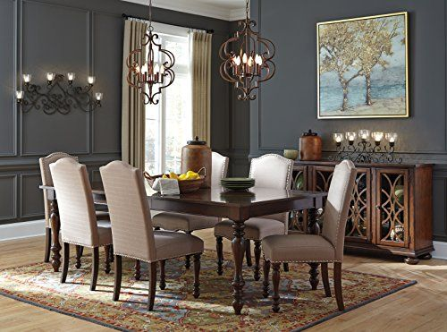 Baxenborg Wood Brown Color Dining Room Set: Rectangle Extension Table With  6 Chairs, Server