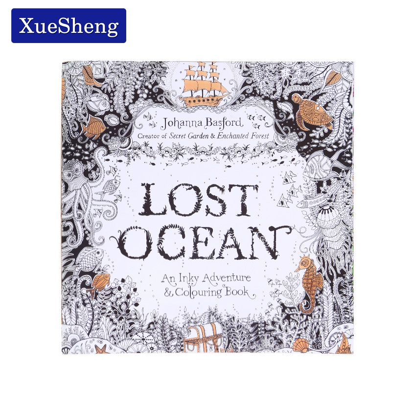 1 PC 24 Pages Lost Ocean Inky Adventure Coloring Book For Children Adult Relieve Stress Kill