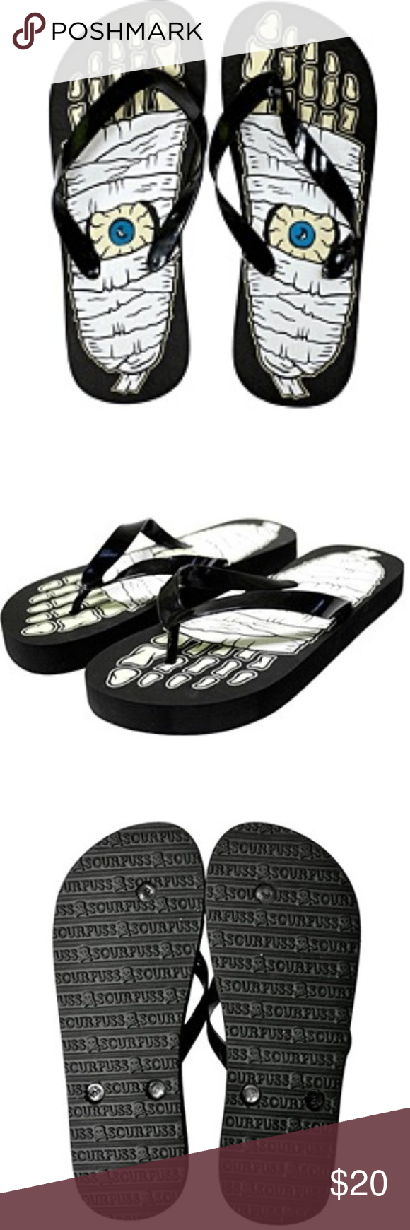 aacecefda5b75 Sourpuss Mummy Monster Eyeball Flip Flops Shoes Brand New SOLD OUT IN  STORES NO LONGER MADE