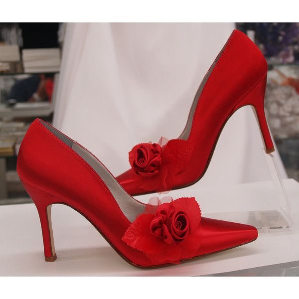 Red Rose Wedding Shoes Sexy Heels more colors sexy heel shoes, closed... ($148) ❤ liked on Polyvore featuring shoes, pumps, red satin pumps, evening bridal shoes, pointy-toe pumps, sexy pumps and red bridal shoes