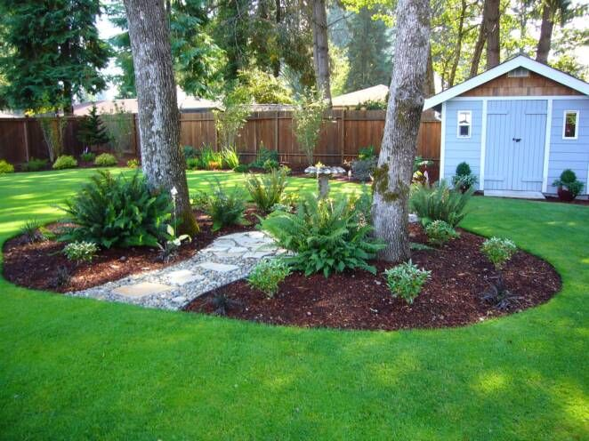 Landscape Around Trees Mulch Back Yard Ideas Landscaping House