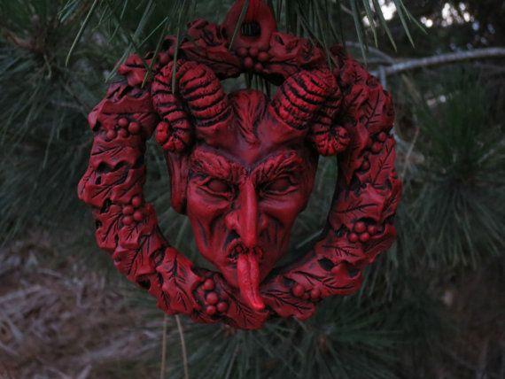 Krampus Wreath Ornament Crimson by WitchfindersGenStore on Etsy
