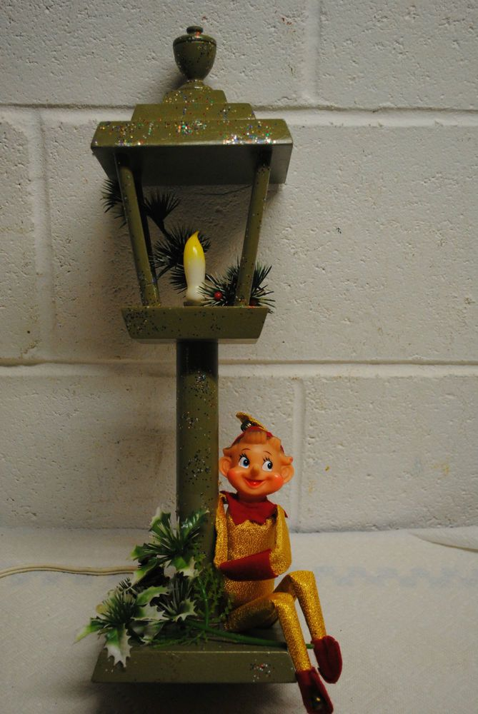 vintage handmade Christmas lamp  homemade electric wood lamp 1965 on eBay from missrubyb and on Facebook at lazyroosterantiques