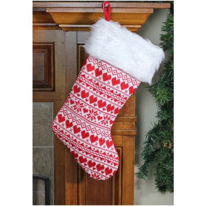 """Northlight 15/"""" Red White Heart Snowflake Christmas Stocking White Faux Fur Cuff"""