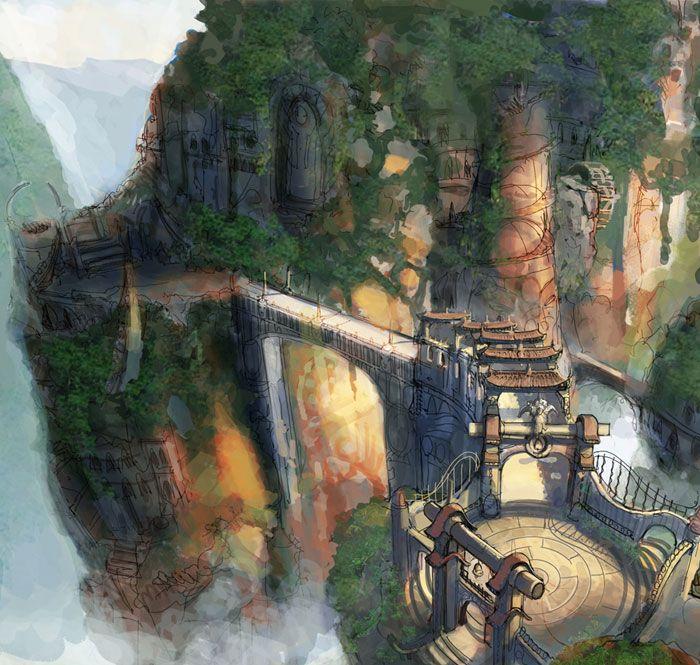 Mountain Bridge Characters Art Heavenly Sword Heavenly Sword Bridge Art Environment Concept Art