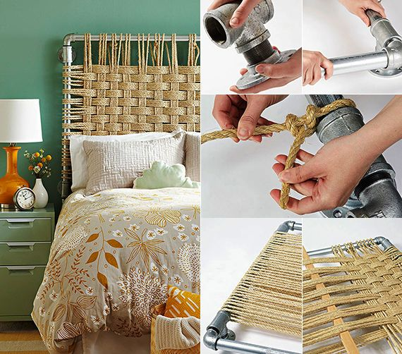 schlafzimmer inspiration mit wandfarbe grn und diy bett kopfteil aus metallrhren und seil - Do It Yourself Kinder Kopfteil Ideen