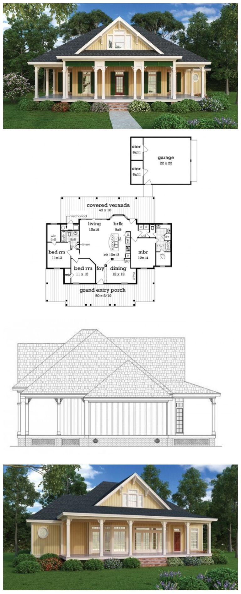 Cottage Style House Plan 3 Beds 2 Baths 1516 Sq Ft Plan 45 378 Cottage Style House Plans House Plans Country Style House Plans
