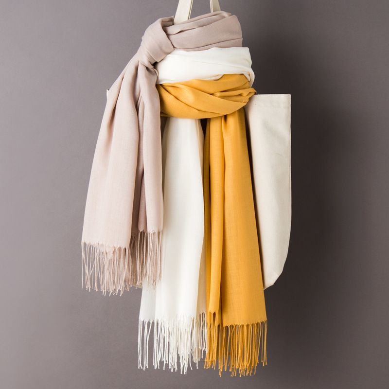 Solid Color Scarves Tassel Soft Wraps Thin Long Scarf Shawl SF