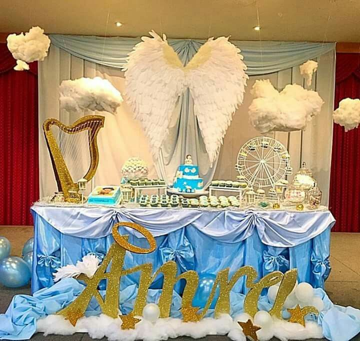 Angel theme party party popping pinterest angel for Baby baptism decoration