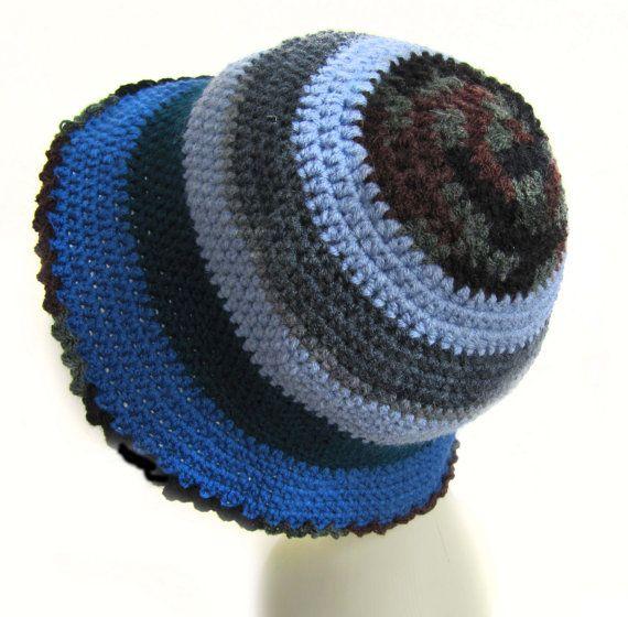 Women fashion hat hand knitted navy blue grayight by SEVILSBAZAAR