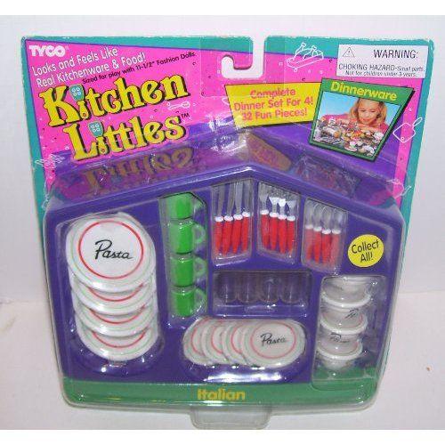 Amazon Com Tyco Kitchen Littles 32 Piece Barbie Sized Dinner Set