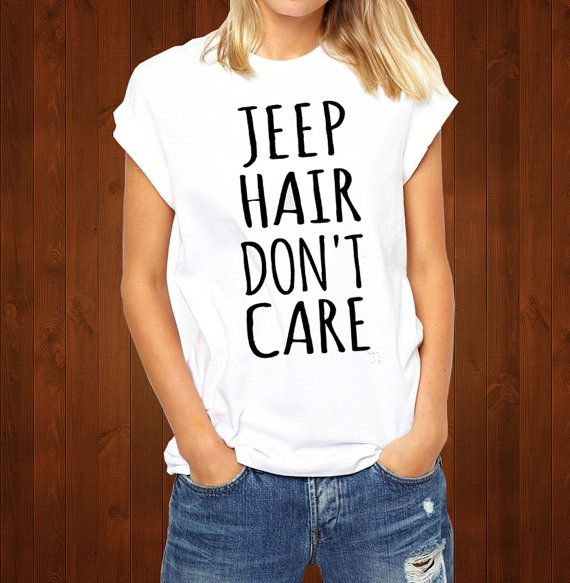 Jeep Hair Don't Care funny t-shirt printed black by INDEEZZdesign