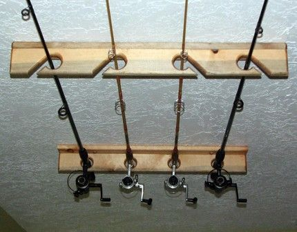 Fishing rod storage rack wall mounted holder 4 space for Wall fishing rod holder