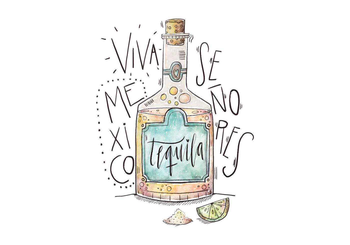 Mexico Tequila Illustration | Dibujos de botellas ...