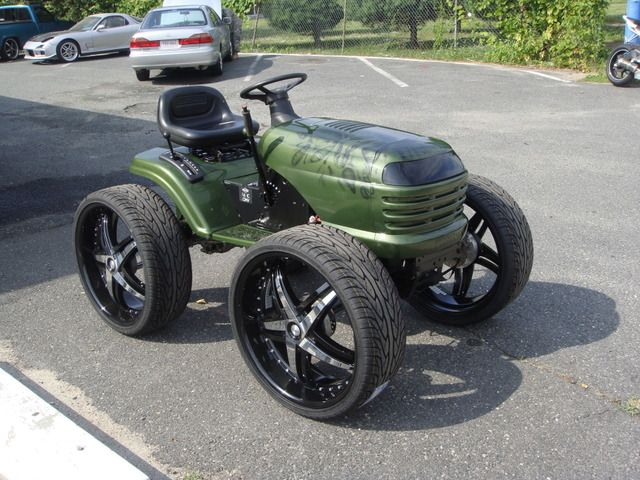 Custom Lawn Tractor Wheels : Tricked out car with mower find the classic rims of your