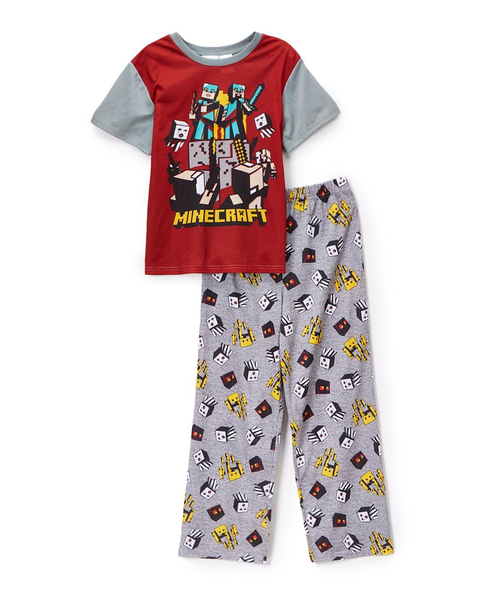 Red & Gray Minecraft Pajama Set - Boys