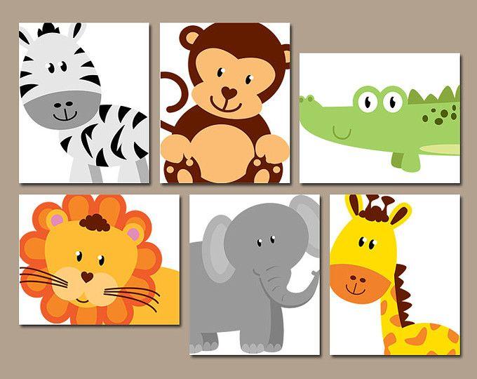 SAFARI ANIMALS Wall Art JUNGLE Theme Nursery Decor Zoo