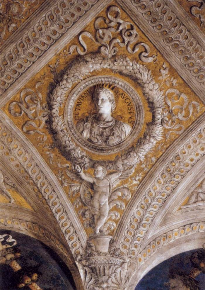 Ceiling decoration detail 1465 74 walnut oil on plaster for Camera picta mantova