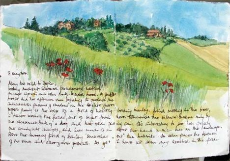 painting of a landscape in an art journal