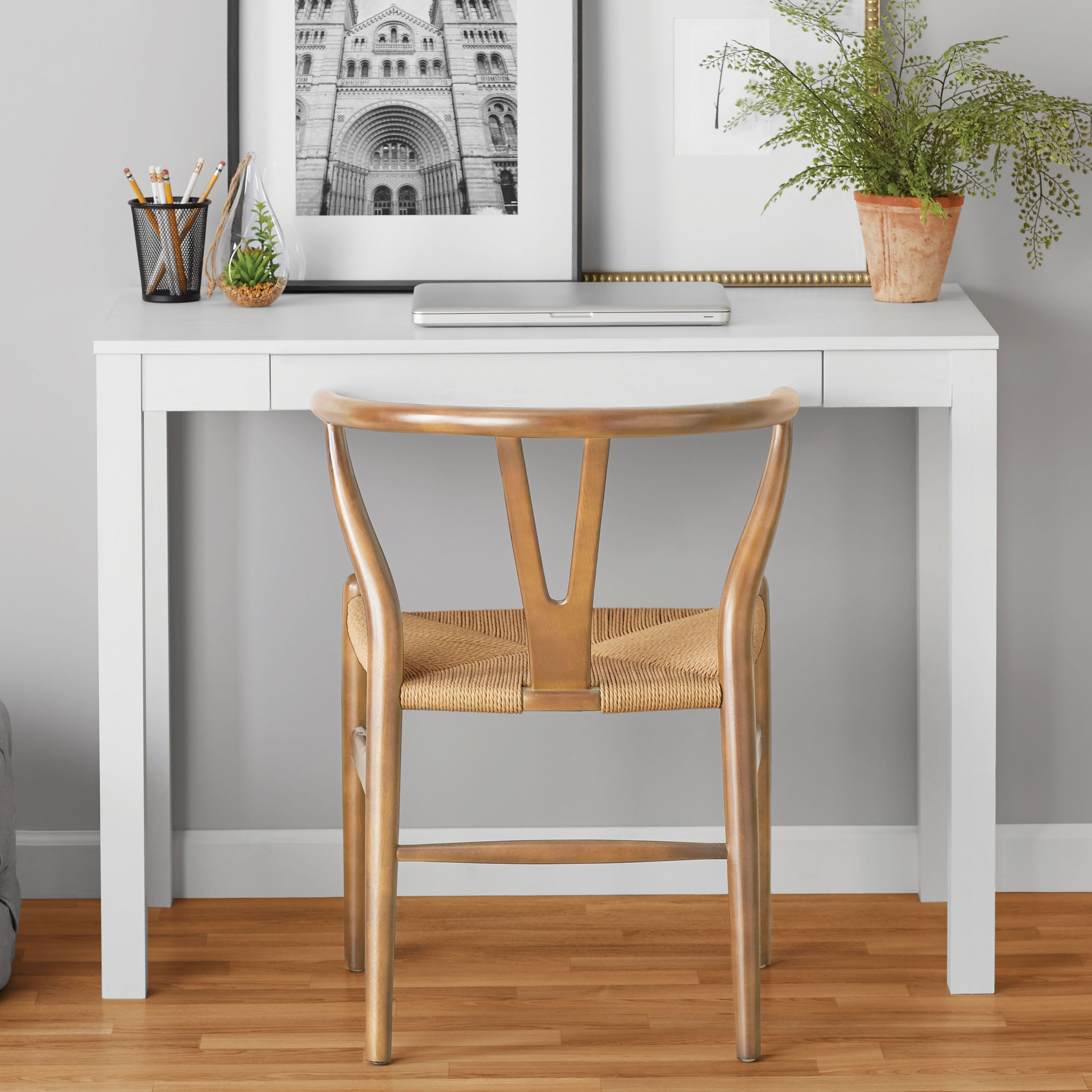 Mainstays Parsons Writing Desk With Storage Drawer Multiple Finishes Walmart Com In 2020 Desk Storage White Writing Desk Small Desk