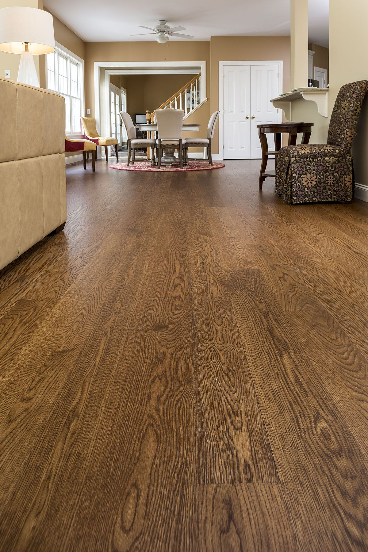 Wide Plank White Oak Finished With Medium Brown Stain And High