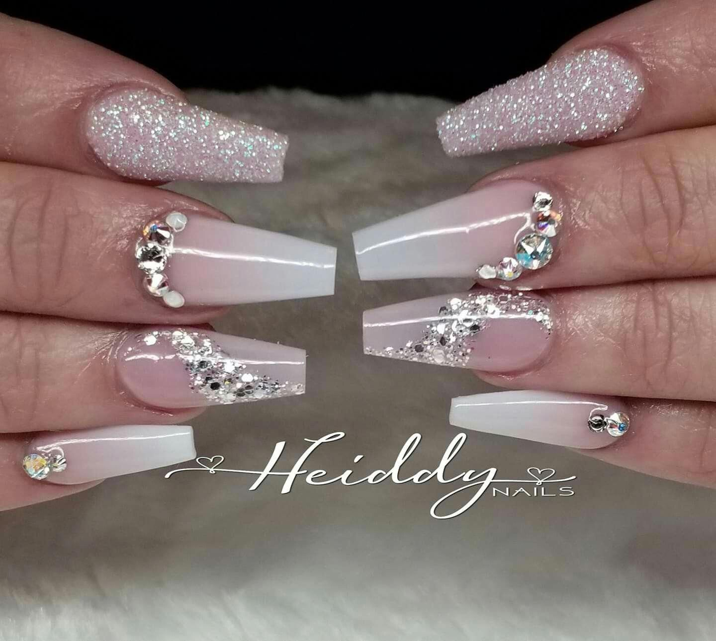 Cute French Nails Fun Frenchnailselegant Quinceanera Nails Nails Design With Rhinestones Diamond Nails