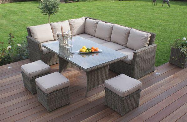 Verona Casual Outdoor Dining   Grey Rattan Corner Sofa With Dining Table |  Verona Grey Rattan Garden Furniture | Pinterest | Rattan, Verona And  Outdoor ...