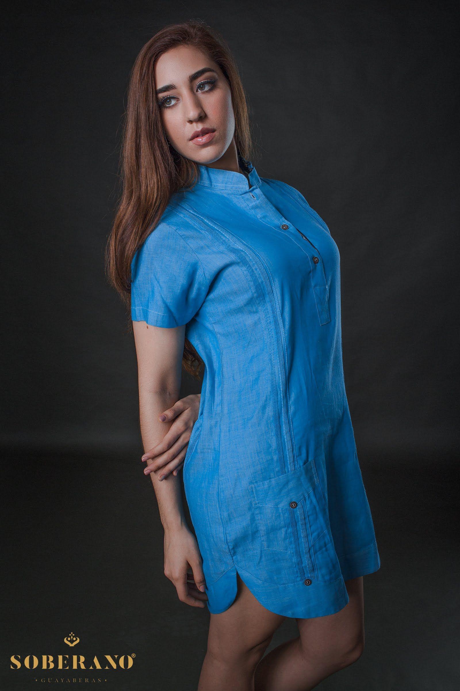 Vestido guayabera azul  31770e6ea36