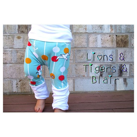 Handmade Lillestoff Seagulls Fart Sacks - Size 3M to 3T - Toddler Legging/Baby Legging/Grow With Me Pants/Cloth Diaper Pants/Toddler Pants  on Etsy, $22.00