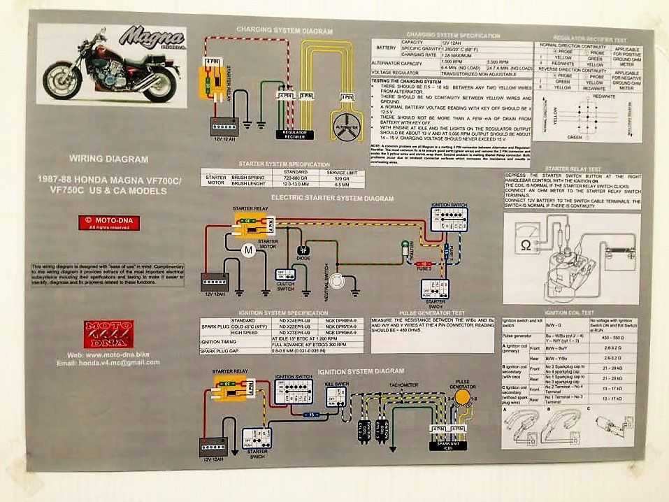 New 1987 1988 Vf700c Vf750c Honda Super Magna Laminated Wiring Diagram
