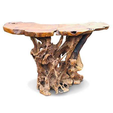Large Teak Root Bar Table High Dining Table 4 Seater