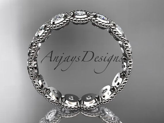 14k white gold white sapphire flower wedding ring, engagement ring, wedding band ADLR345  This is gorgeous flower pattern ring. It has 15 genuine