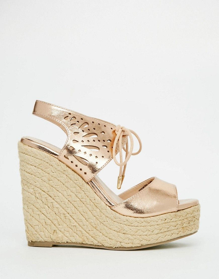 771004f77d8 Lipsy Brooke Rose Gold Metallic Tie Up Wedge Sandals | Lv me rose ...