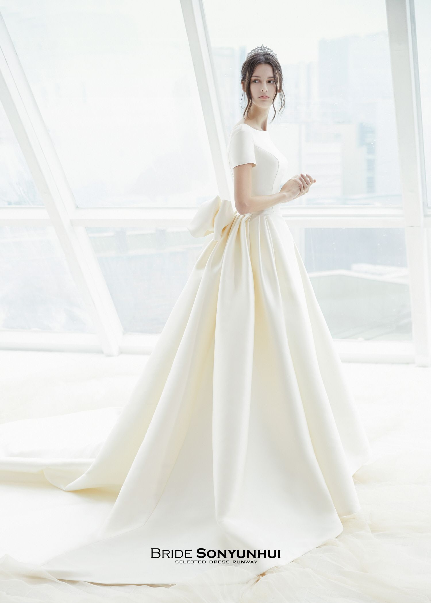 Simple silk wedding dresses  Mikado silk Aline wedding dress Bodice with bateau neck and short