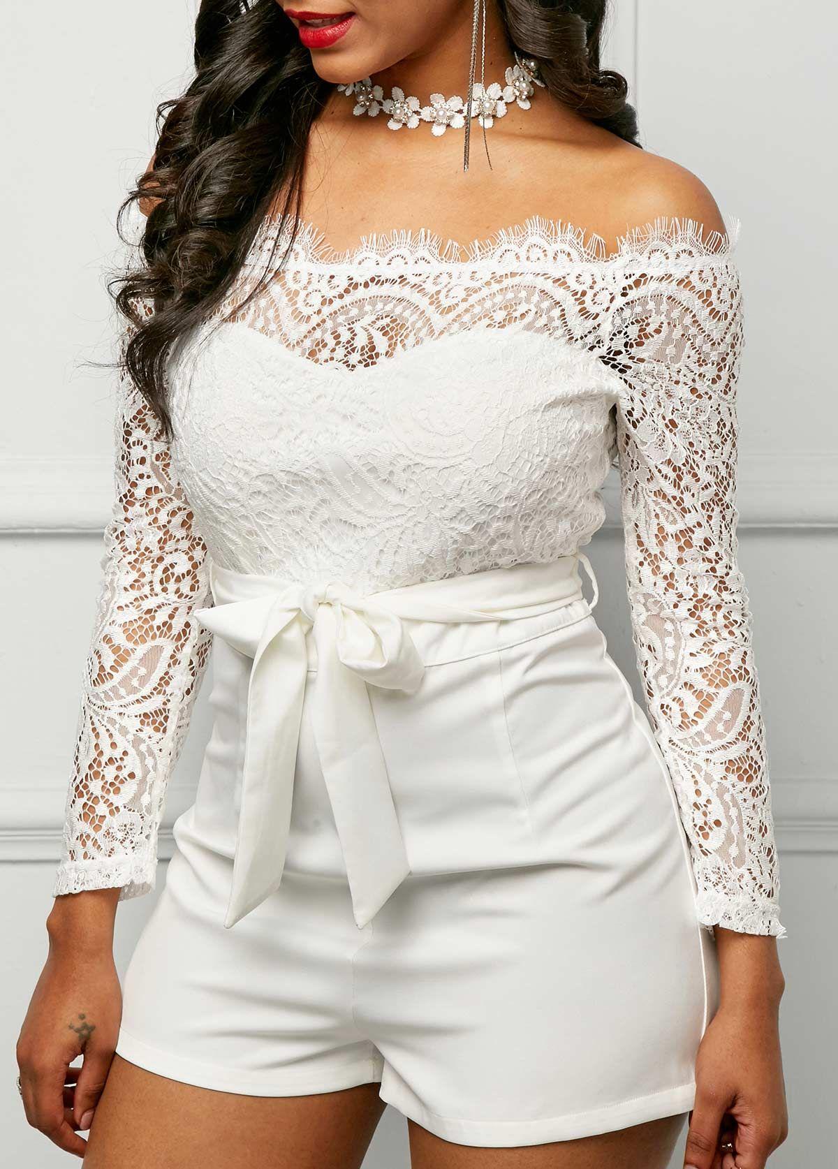 999eaa93f67 Long Sleeve Lace Panel White Bardot Romper