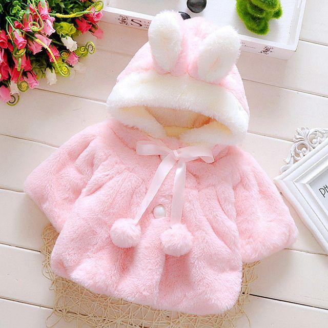 1-4 Y niños de invierno abrigos Niños Niñas Bebé Conejo pelo del ...