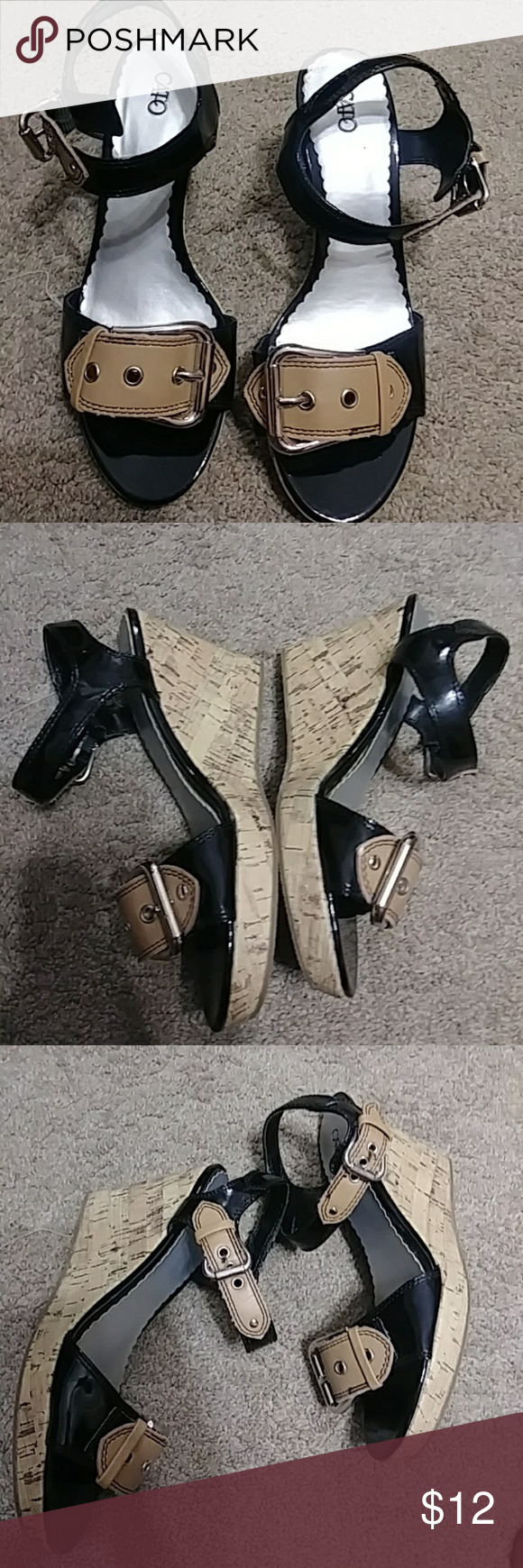 5577bf30168c Cato wedged sandals shoes size 8 Gently used The paper on the soul is  coming off as shown in picture so selling cheap. SIZE 8 Cato Shoes Wedges