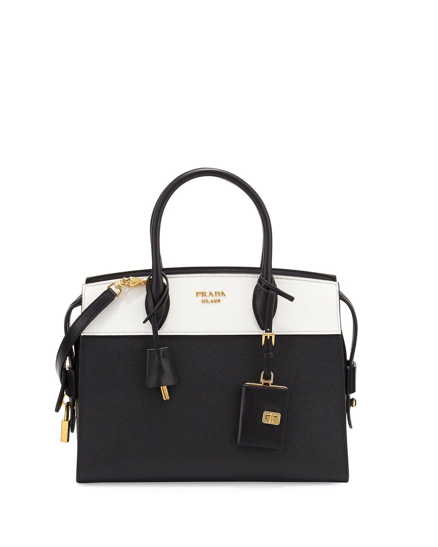e7ec4474c12993 Prada Esplanade Medium Bicolor City Satchel Bag, Black/White (Nero/Bianco),  Women's