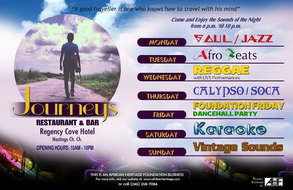 JOURNEYS #RESTAURANT & #BAR …. NOW OPEN Open Mon – Sun from 10:00 am – 10:00 pm @ Regency Cove Hotel - BARBADOS   http://www.afrikanheritage.com/journeys-restaurant-and-bar-now-open/