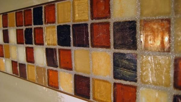 Starglass With Iridescent Glass Tile John Bridge Forum Color Unspecified But Possibly Palmwood Iridescent Glass Tiles Grey Painted Cabinets Iridescent Glass